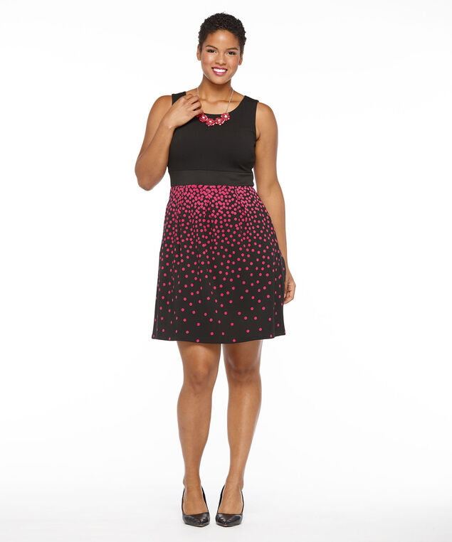 Pique Top Polka Dot Skirt Dress, Black Pattern, hi-res