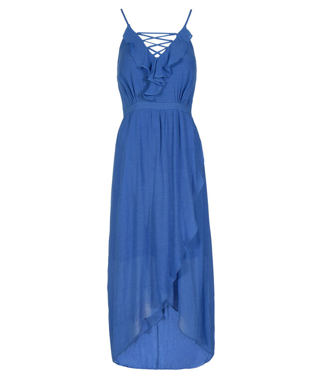 Strappy Ruffle Front Maxi Dress, Bright Blue, hi-res