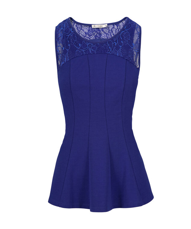 Lace Overlay Peplum, Ultra Blue, hi-res