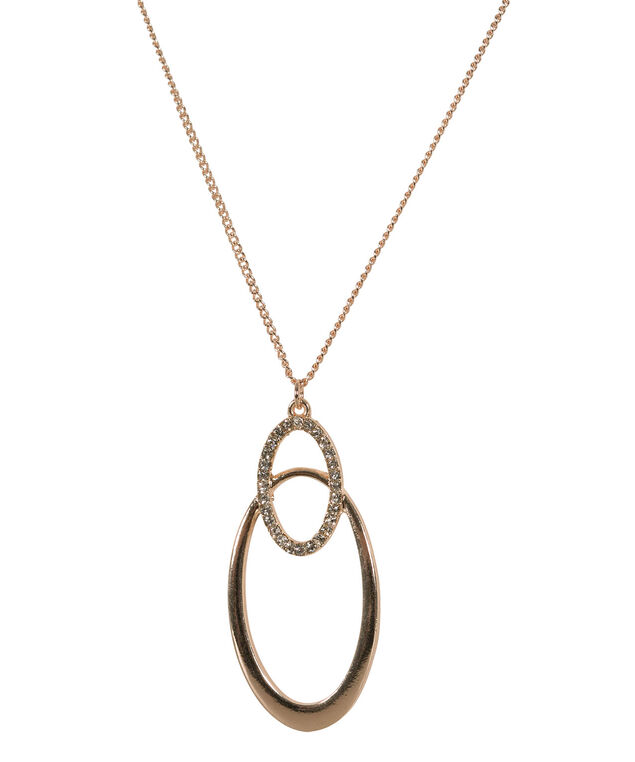 INTERTWINED OVAL PENDANT NECKLACE, Clear/Rose Gold, hi-res