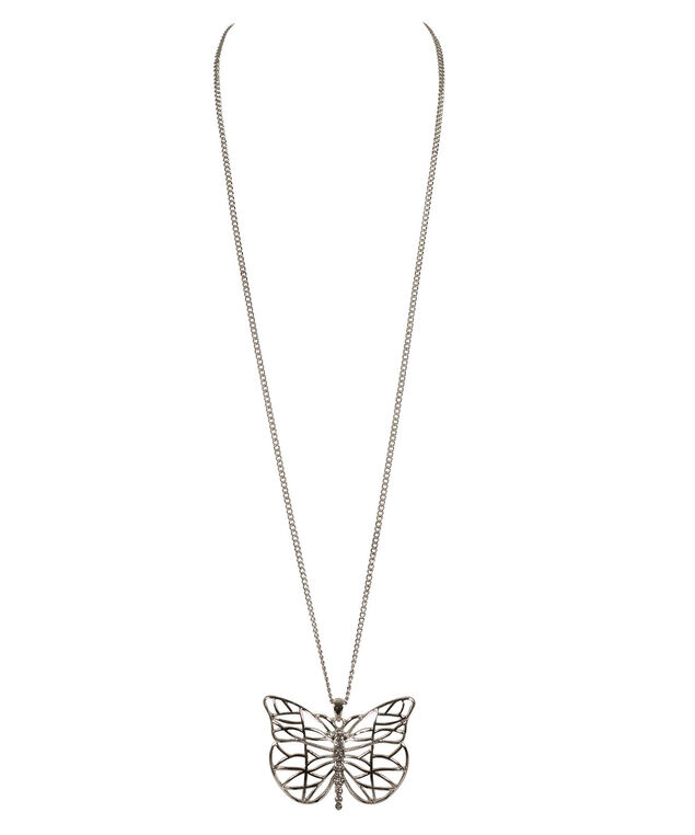 Butterfly Pendant Necklace, Clear/Rhodium, hi-res
