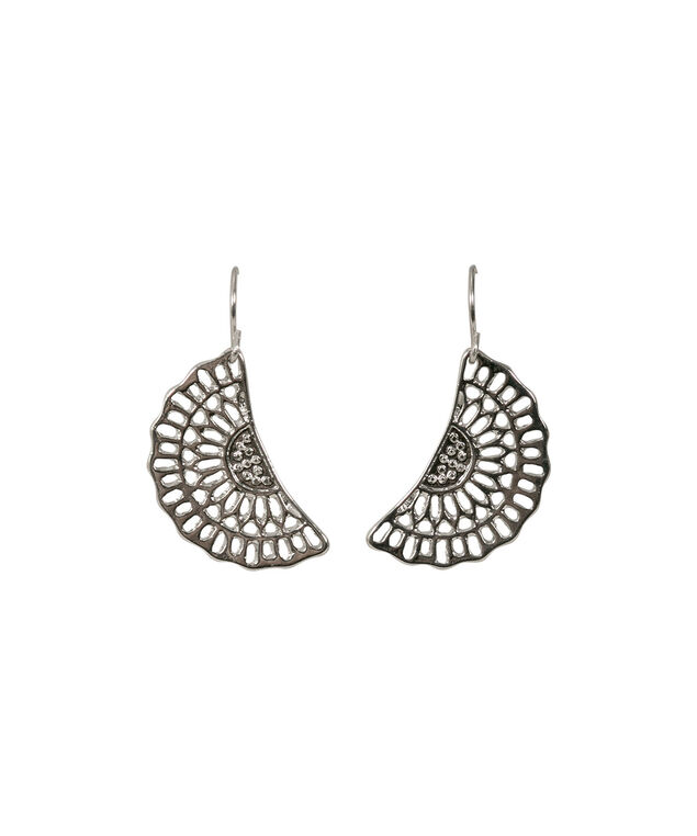 Half Circle Filigree Earrings, Rhodium, hi-res