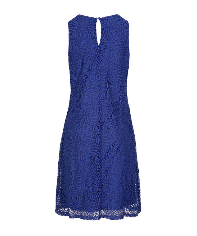 Crochet Lace Trapeze Dress, Blue, hi-res