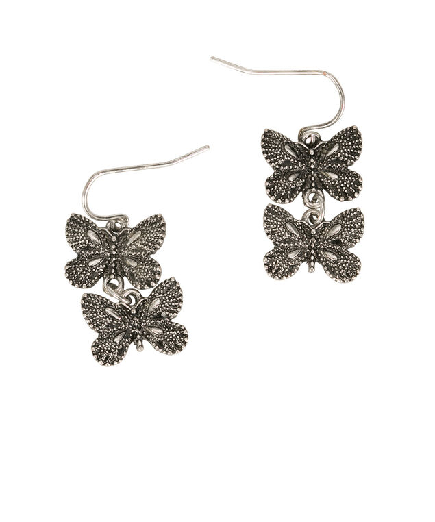 Double Butterfly Earrings, Burnished Silver, hi-res