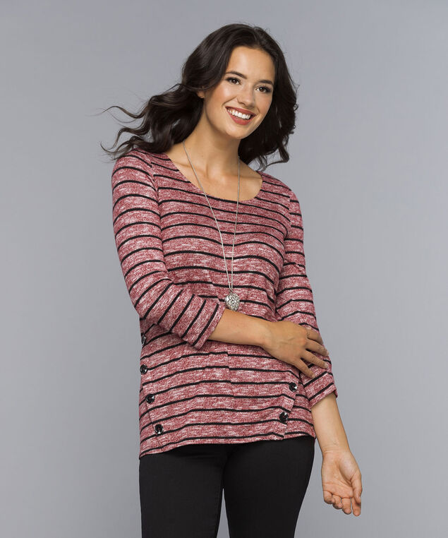 Button-Trim Pullover Top, Ruby/Black Stripe, hi-res