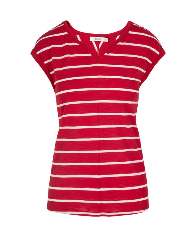 Extended Sleeve Notch Neck Tee, Red/White, hi-res