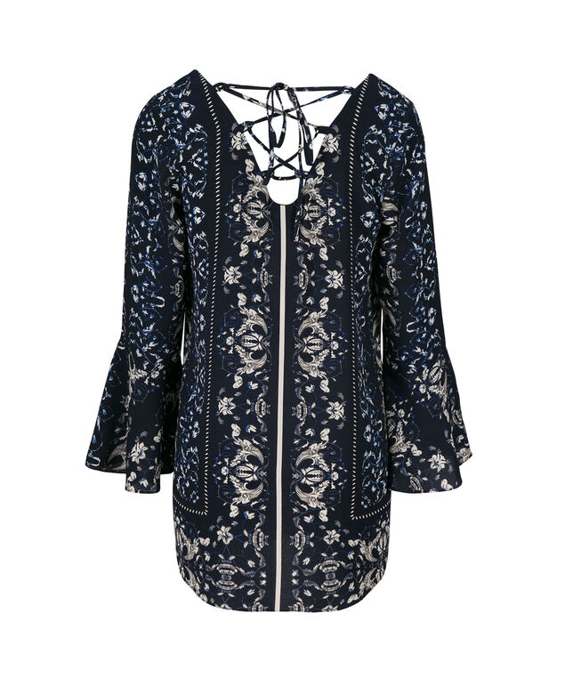 Flounce Sleeve Lace-Up Back Tunic Blouse, Black Print, hi-res
