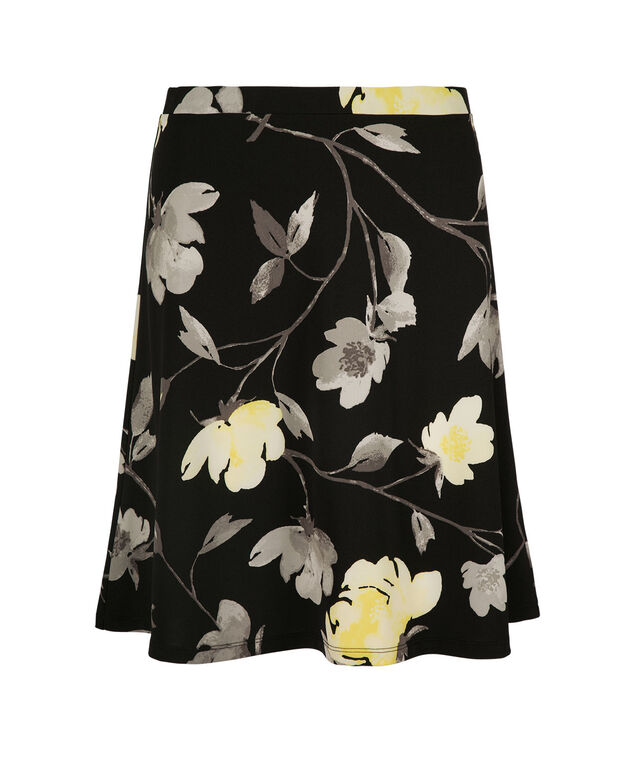 Floral Flippy Print Skirt, Black/Yellow Print, hi-res