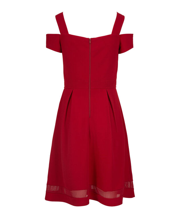 Mesh Trim Cold Shoulder Dress, Red, hi-res