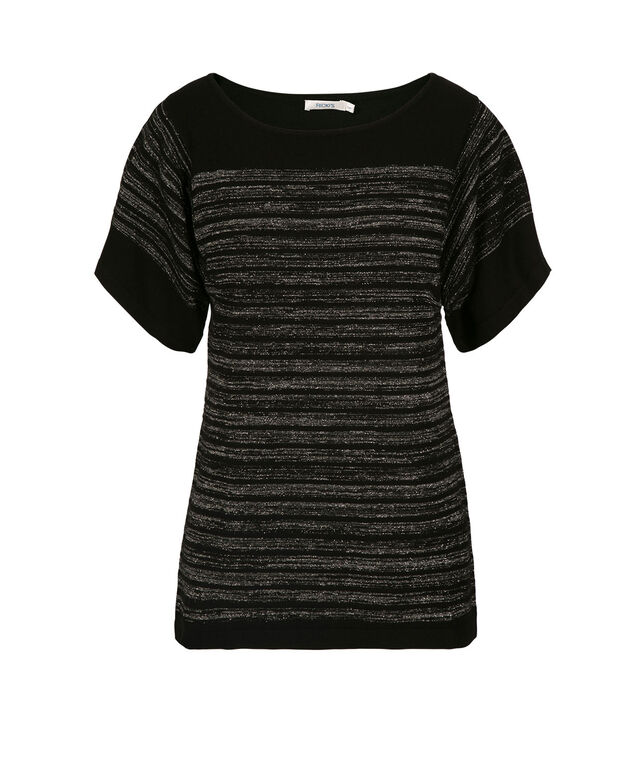 Extended Sleeve Pull Over Sweater, Black/Lurex Stripe, hi-res