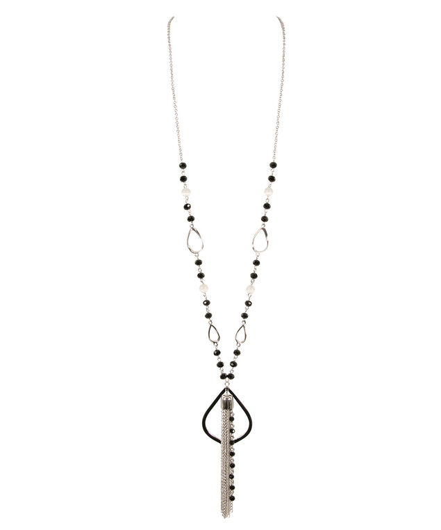 Stationed Bead & Teardrop Tassel Necklace, Black/White/Rhodium, hi-res
