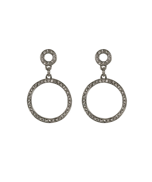Double Open Circle Drop Earring, Clear/Rhodium, hi-res