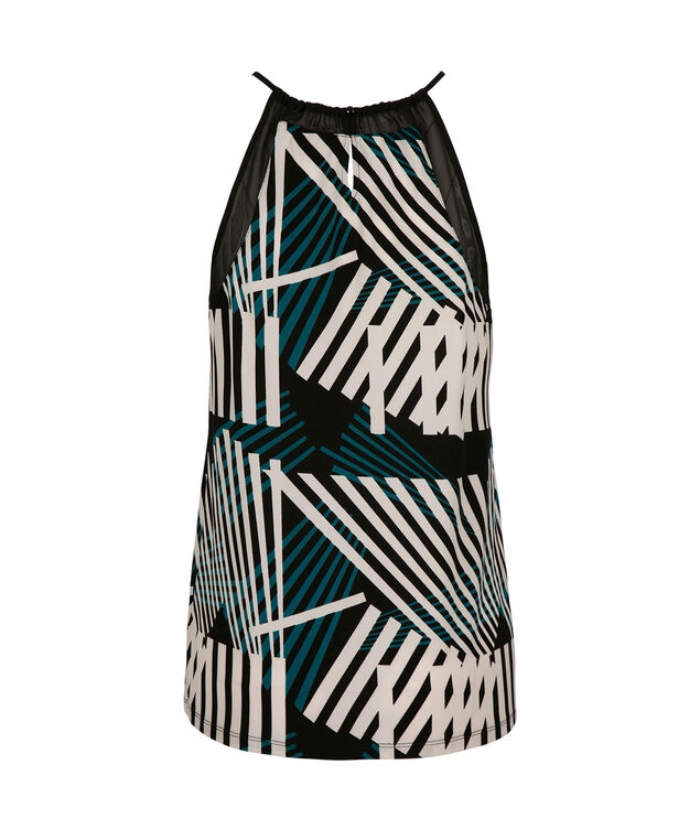 Illusion Neck Halter, Deep Teal Print, hi-res