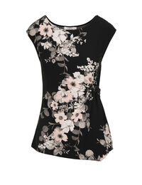 Floral Placement Print Ruched Top