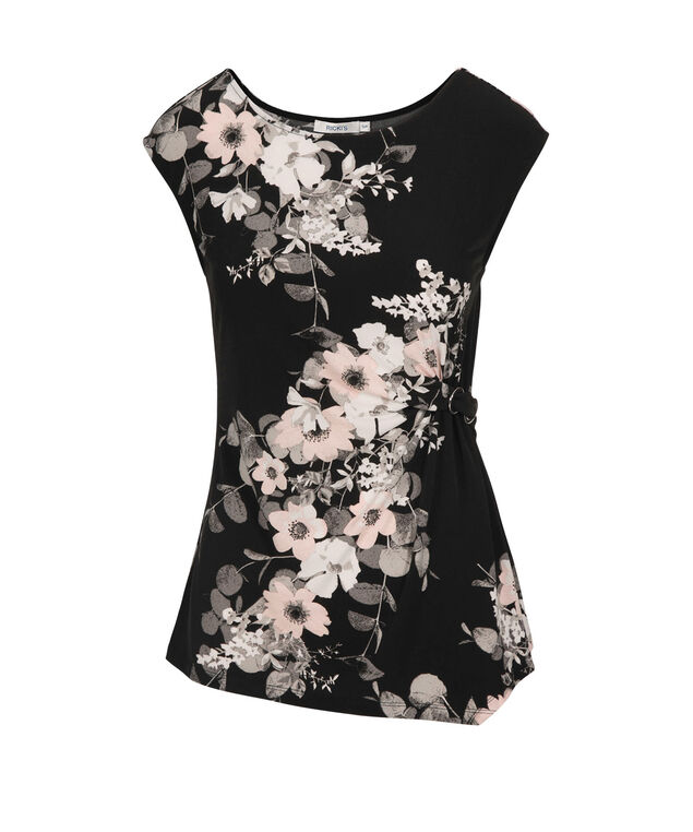 Floral Placement Print Ruched Top, Black Pattern, hi-res