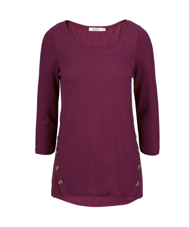 3/4 Sleeve With Buttons, Mid Plum, hi-res