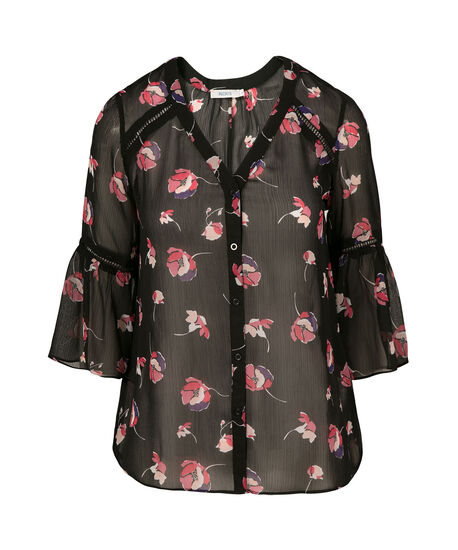 Button Front Flounce Sleeve , Coral Print, hi-res