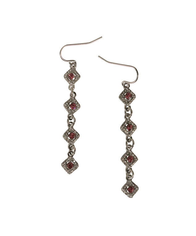 MULTI CRYSTAL EARRINGS, Pink/Rhodium, hi-res