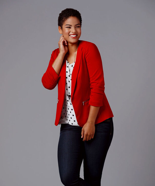 Zip-Pocket Open Blazer, Crimson, hi-res