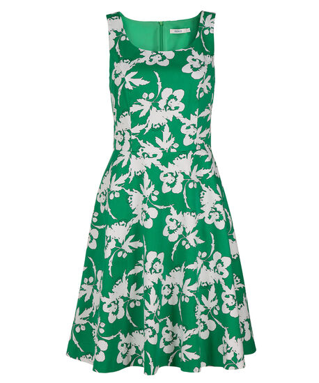 Bright Green Fit & Flare Dress, Bright Green Print, hi-res