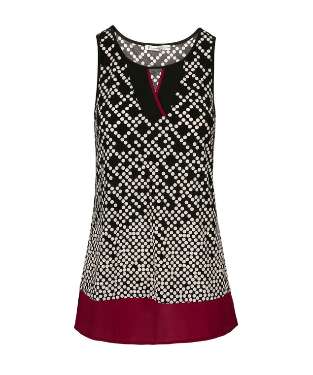 Sleeveless Mid Length Top, Cranberry Print, hi-res