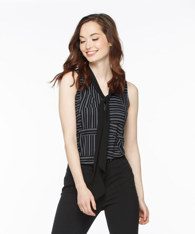 Scarf-Tie Sleeveless V-Neck, Black Pattern, hi-res