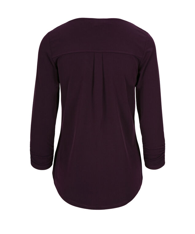 3/4 Sleeve V-Neck, Blackberry, hi-res