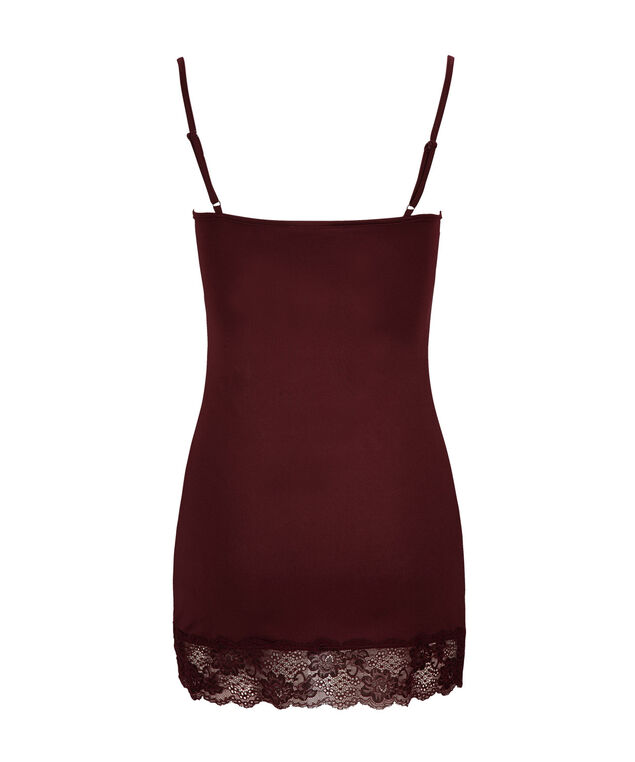 Lace Trim Cami, Burgundy, hi-res