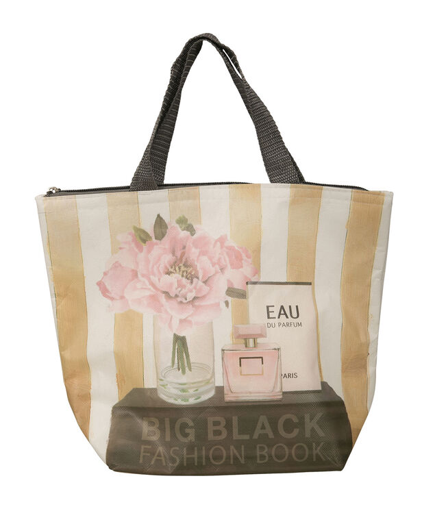 LUNCH TOTE, Black/White/Gold, hi-res