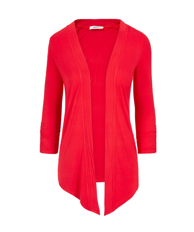 Drape Front Open Cardigan, Red, hi-res