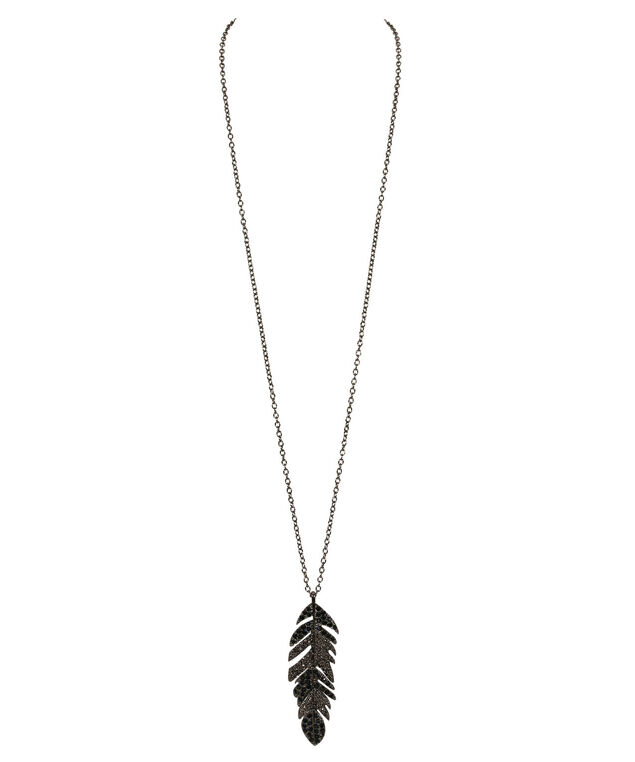 Crystal Feather Pendant Necklace, Ink Blue/Hematite, hi-res