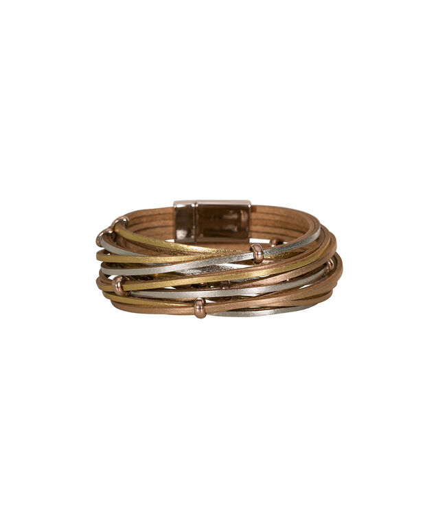 Twisted Faux Leather Wrap Bracelet, Gold/Silver/Rose Gold, hi-res