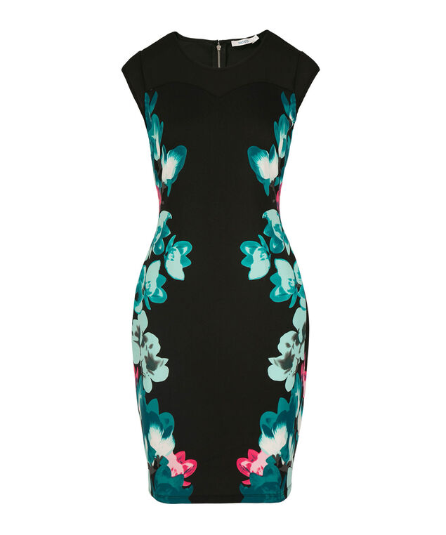 Sweetheart Neck Sheath Dress, Black Ground Print, hi-res