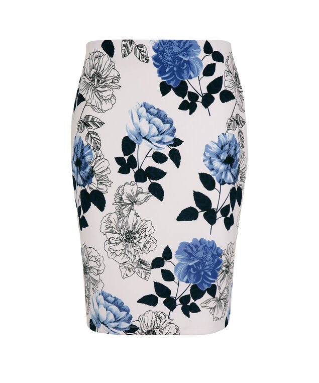 Floral Crepe Pencil Skirt, White/Blue Print, hi-res