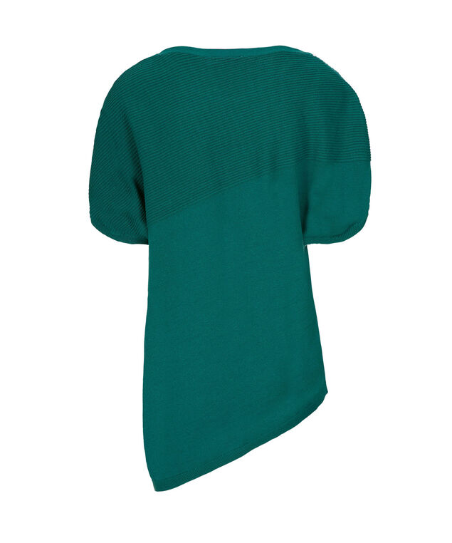 Asymmetrical Ribbed Pullover, Teal, hi-res