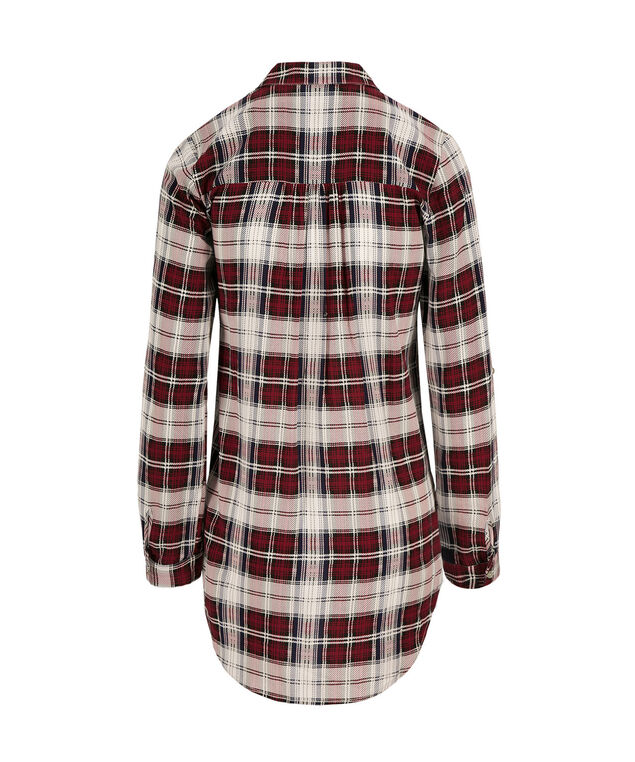 Plaid Tunic Blouse, Red Print, hi-res