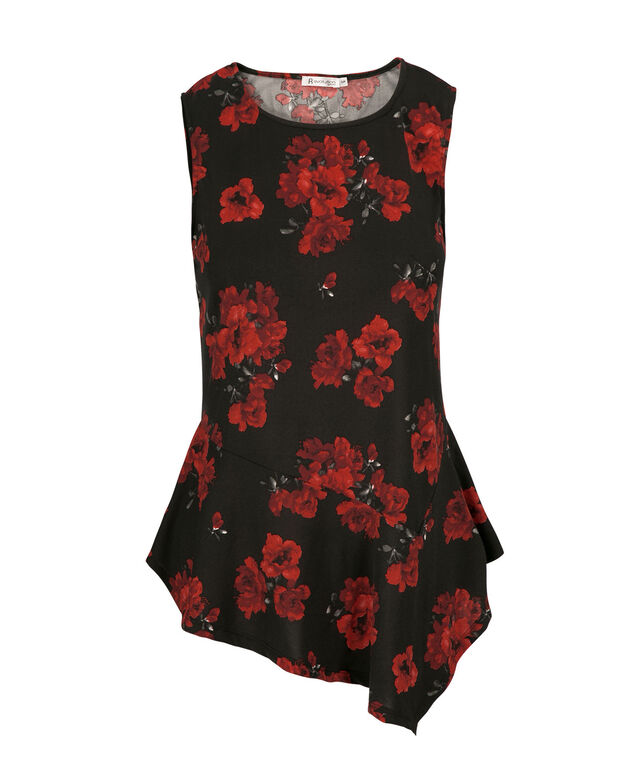 Sleeveless Asymmetric, Red Print, hi-res