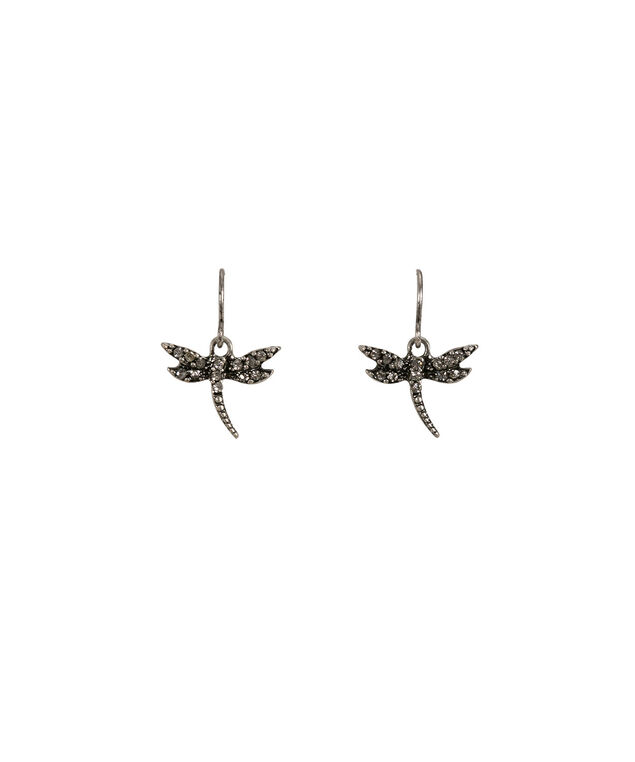 Dragonfly Earring, Burnished Silver, hi-res