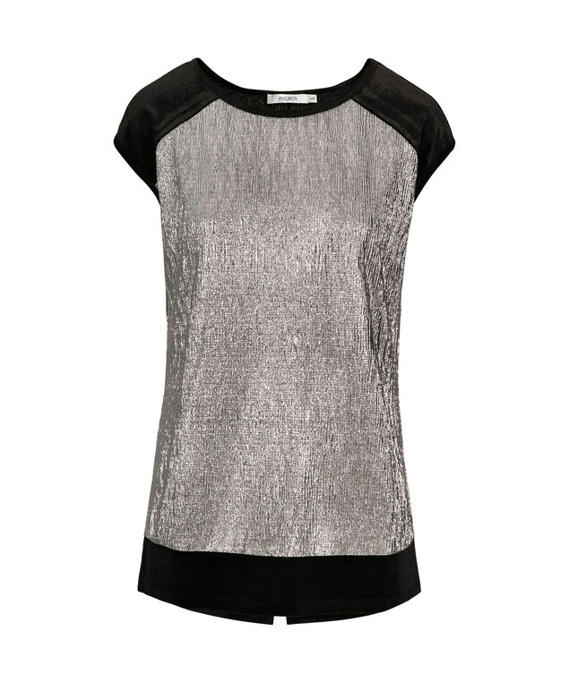 Velvet Trim Extended Sleeve Top, Black/Silver, hi-res