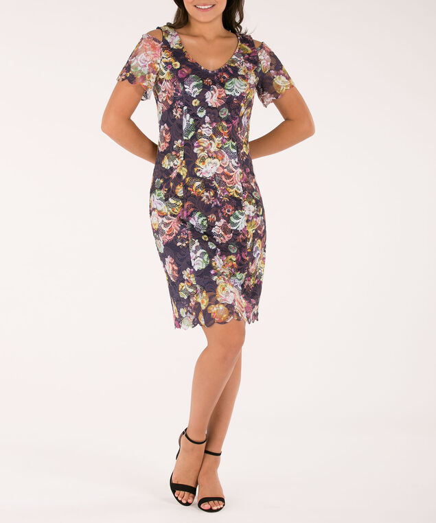 Lace Overlay Cold Shoulder Sheath Dress, Navy/Purple Print, hi-res