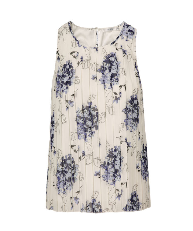 Sleeveless Pleated Blouse, Blue Floral, hi-res