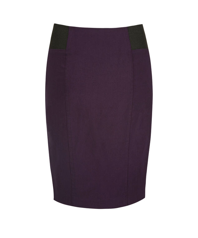 Microtwill Elastic Detail Pencil Skirt, Deep Purple, hi-res