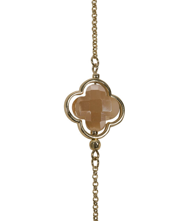Clover Stone Station Necklace, Taupe/Soft Gold, hi-res