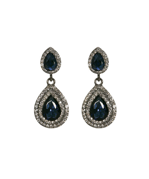Crystal Teardrop Earring, Cobalt/Clear/Hematite, hi-res