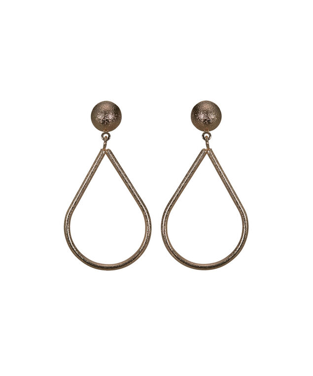 Sanded Metal Teardrop Earring, Soft Rose Gold, hi-res