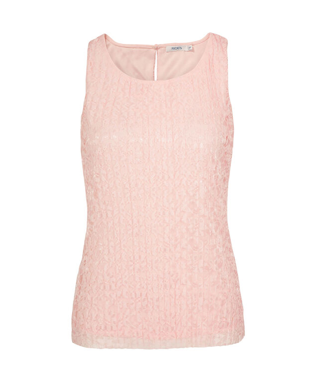 Sleeveless Pleated Lace Top, Rosewater, hi-res