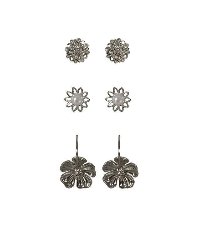Floral & Pearl Earring Set, White/Rhodium, hi-res