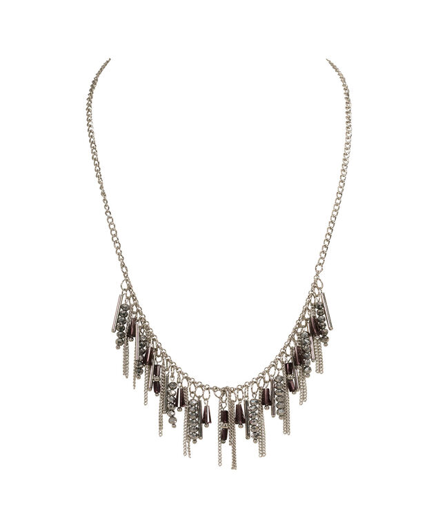 Bead & Chain Tassel Statement Necklace, Purple/Burnished Silver, hi-res