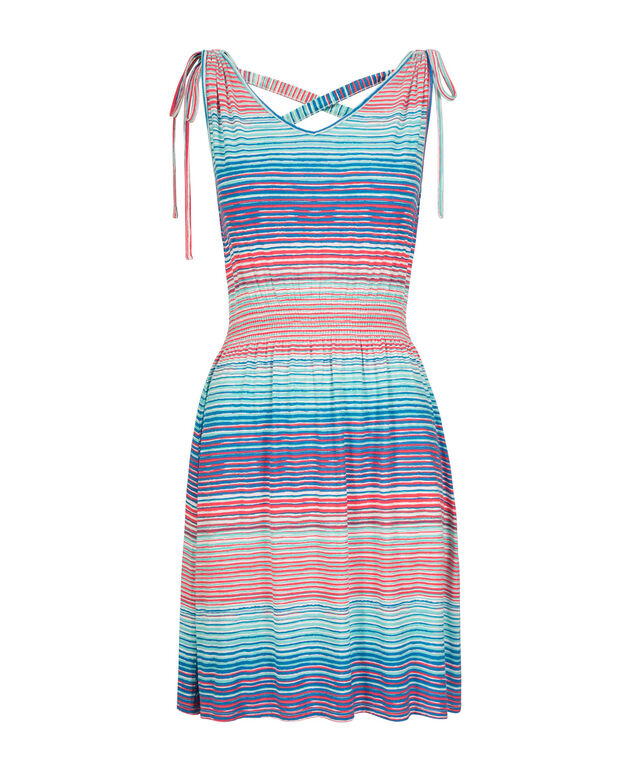 Cross Back Striped Sundress, Blue/Green/Coral, hi-res