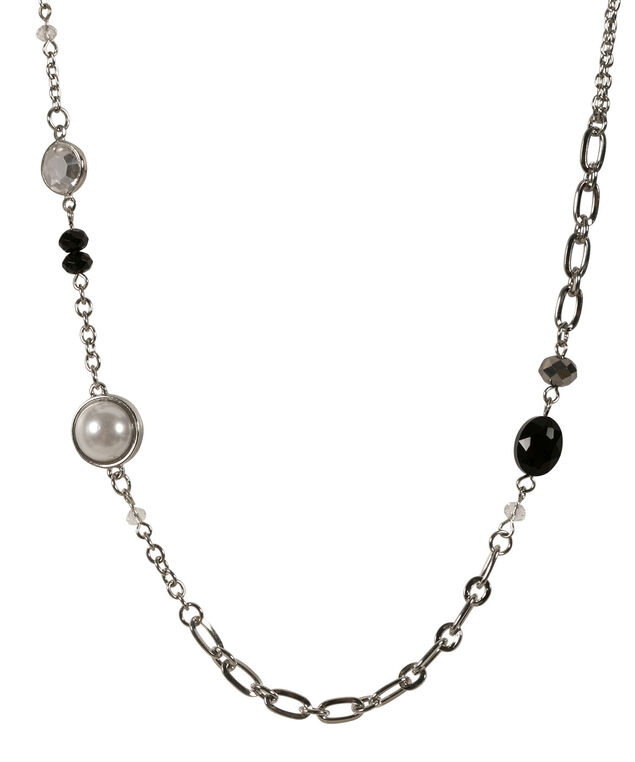 Stationed Bead & Pearl Necklace, White/Blue/Hematite, hi-res